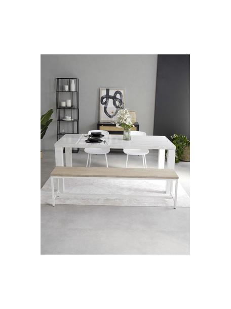 Sitzbank Raw aus massivem Mangoholz, Sitzfläche: Massives Mangoholz, gebür, Gestell: Metall, pulverbeschichtet, Mangoholz mit Kerben, 170 x 47 cm