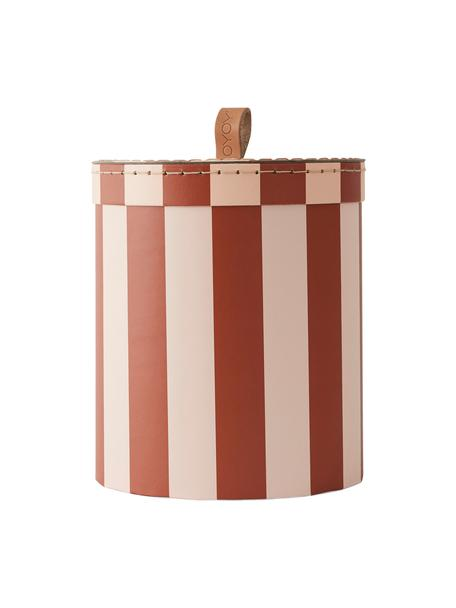 Pudełko do przechowywania Cecila, Tektura, skóra, Czerwony, kremowy, Ø 17 x W 20 cm