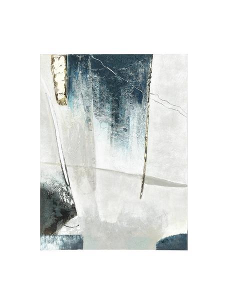 Handgeschilderde canvasdoek Golden Blue I, Afbeelding: olieverf op linnen (300 g, Multicolour, 90 x 118 cm