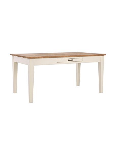 Mesa de comedor Siena, Estructura: madera de wadang, Tablero: madera de teca Acabado a , Beige, crema, An 160 x F 90 cm