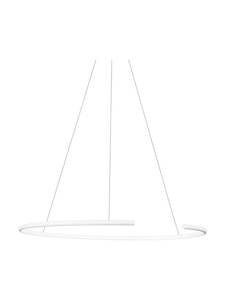Grote LED hanglamp Breda in wit, Lampenkap: aluminium, Diffuser: acryl, Baldakijn: aluminium, Wit, Ø 70 x H 200 cm