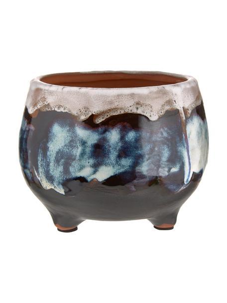 Mała ręcznie wykonana osłonka na doniczkę z terakoty Sasa, Terakota, Wielobarwny, Ø 14 x W 11 cm