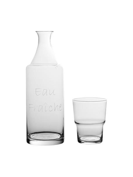 Karafset Pilla van glas met wit opschrift, 2-delig, Glas, Transparant, Set met verschillende formaten