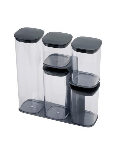 Aufbewahrungsdosen-Set Podium, 5-tlg., verschiedene Größen, SAN-Kunststoff, Silikon, HIPS-Kunststoff, Dunkelgrau, Transparent, Verschiednene Größen