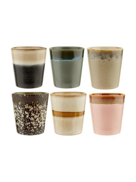 Set 6 tazze retrò senza manico fatte a mano 70's, Ceramica, Rosa, beige, blu, Ø 8 x Alt. 8 cm