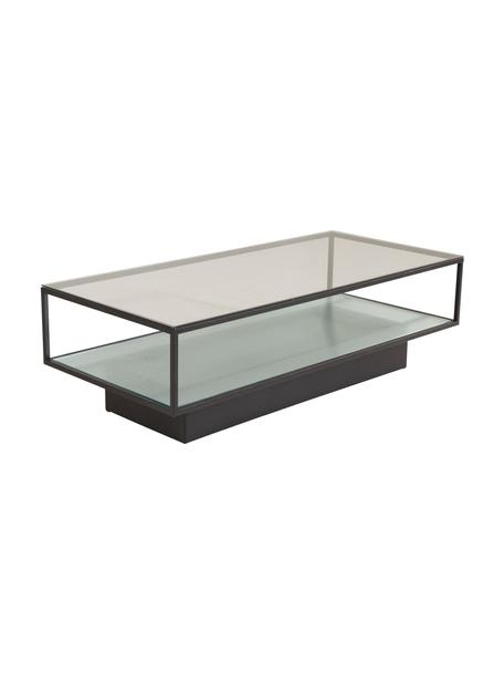 Tavolino da salotto con piano in vetro Maglehem, Struttura: metallo rivestito, Nero trasparente, Larg. 130 x Alt. 60 cm