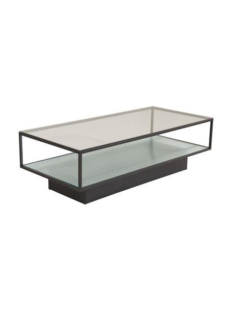 Tavolino da salotto in metallo con piano in vetro Maglehem, Struttura: metallo rivestito, Nero trasparente, Larg. 130 x Prof. 60 cm