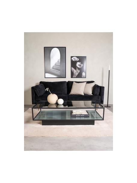 Stolik kawowy z metalu ze szklanym blatem Maglehem, Stelaż: metal powlekany, Czarny, transparentny, S 130 x G 60 cm