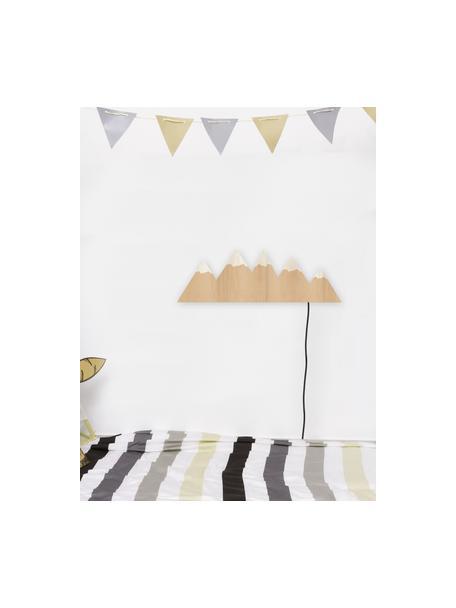 Aplique LED Mountains, con enchufe, Lámpara: madera contrachapada, rec, Cable: cubierto en tela, Marrón, crema, An 50 x Al 16 cm
