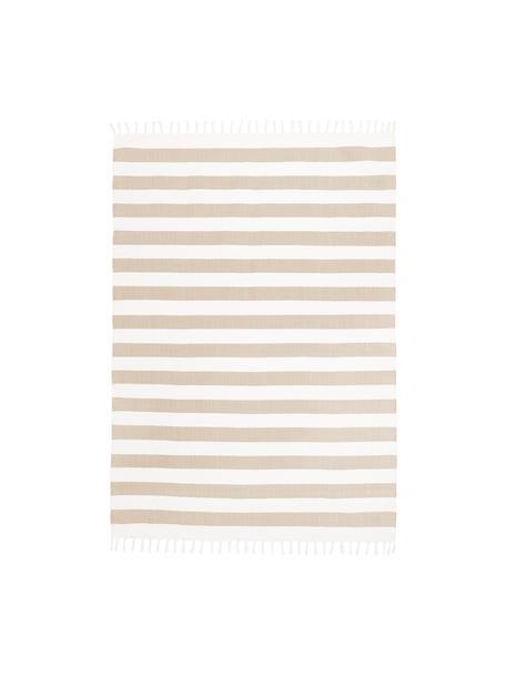 Gestreept katoenen vloerkleed Blocker in beige/wit, handgeweven, 100% katoen, Crèmewit, taupe, B 200 x L 300 cm (maat L)