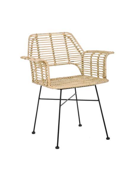 Krzesło z podłokietnikami z rattanu Tunas, Stelaż: metal malowany proszkowo, Beżowy, czarny, S 65 x G 59 cm