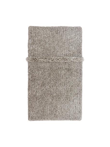 Handgefertigter Wollteppich Tundra in Grau, waschbar, Flor: 100% Wolle, Grau, B 80 x L 140 cm (Größe XS)