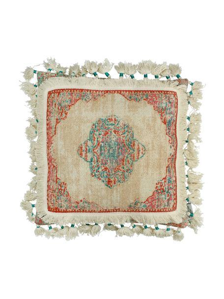 Cojín con borlas Latina, con relleno, Funda: 100%algodón, Beige, multicolor, An 45 x L 45 cm
