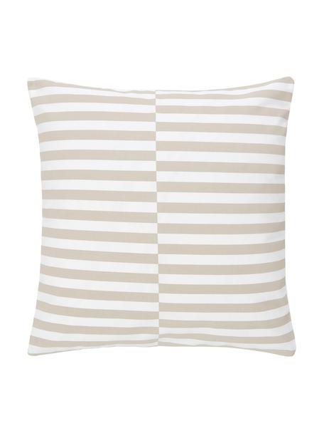 Kissenhülle Ivo Taupe/Weiß mit grafischem Muster, 100% Baumwolle, Weiß,Beige, 45 x 45 cm