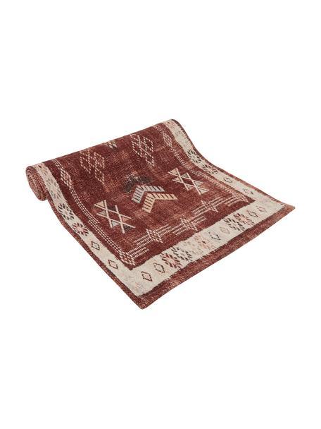 Katoenen tafelloper Tanger met ethnopatroon, 100% katoen, Terracottakleurig, crèmekleurig, 50 x 150 cm