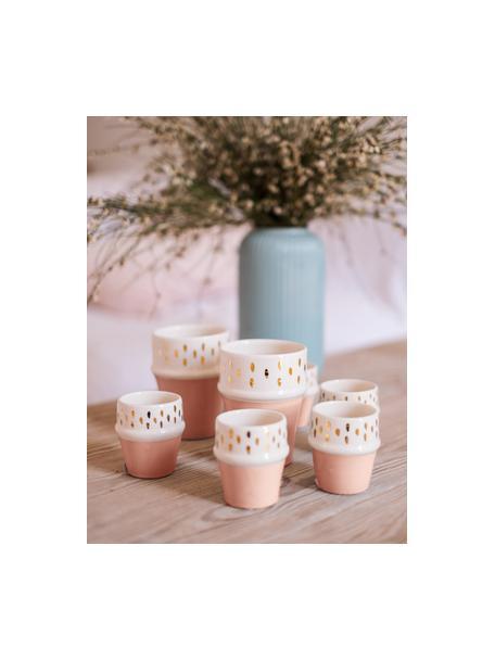 Ręcznie wykonany kubek Beldi, Ceramika, Blady różowy, odcienie kremowego, złoty, Ø 8 x W 11 cm