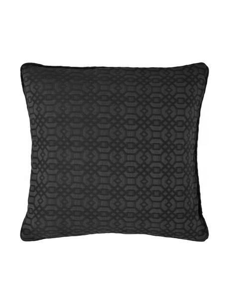 Kissenhülle Feliz mit grafischem Muster, 60% Baumwolle, 40% Polyester, Anthrazit, 50 x 50 cm