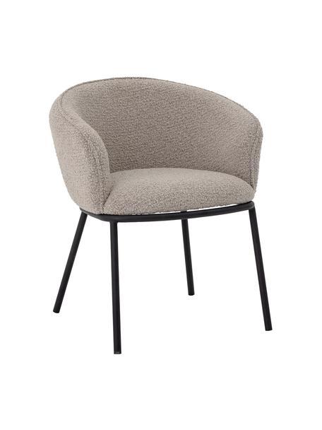 Krzesło z podłokietnikami Cortone, Tapicerka: poliester Dzięki tkaninie, Nogi: metal powlekany, Szary, czarny, S 63 x G 60 cm