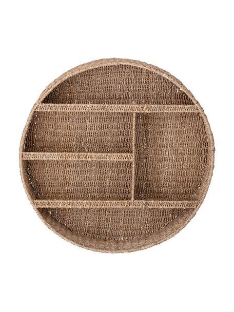 Rond rotan wandrek Bankuan, Bankuan-gras, rotan, gecoat metaal, Bruin, Ø 76 x D 14 cm