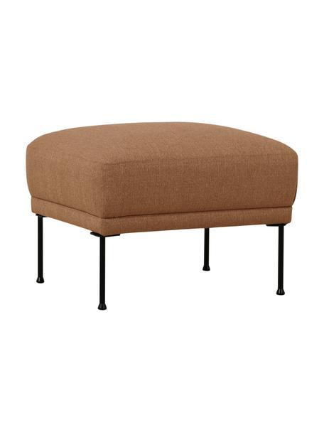 Poggiapiedi da divano in tessuto color torrone Fluente, Rivestimento: 100% poliestere 35.000 ci, Struttura: legno di pino massiccio, Piedini: metallo verniciato a polv, Marrone, Larg. 62 x Alt. 46 cm