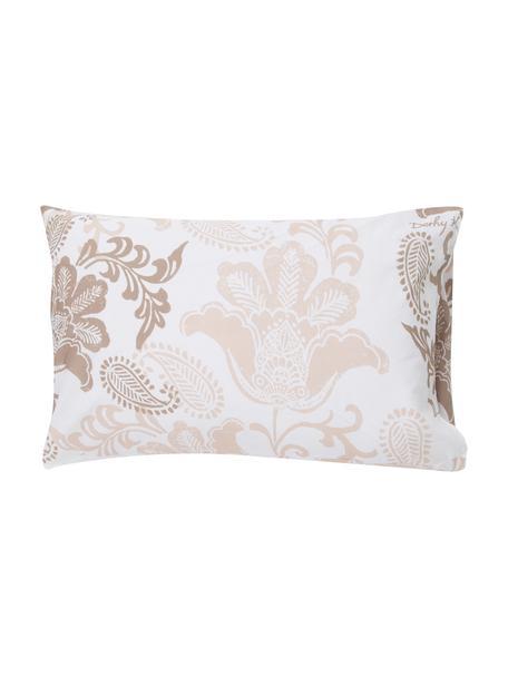 Fundas de almohada Camille, 2uds., 50x80cm, 100%algodón El algodón da una sensación agradable y suave en la piel, absorbe bien la humedad y es adecuado para personas alérgicas, Blanco, beige claro, gris pardo, An 50 x L 80 cm