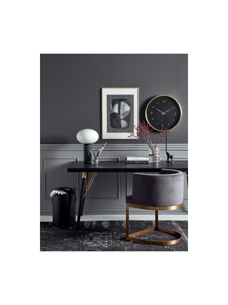 Tavolo nero Marlena, Piano d'appoggio: pannello di fibra a media, Gambe: metallo verniciato, Nero, dorato, Larg. 180 x Prof. 90 cm