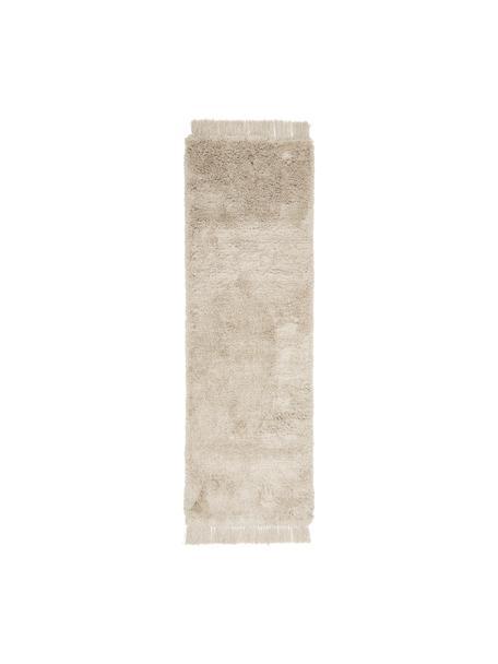 Passatoia a pelo lungo soffice con frange Dreamy, Retro: 100% cotone, Crema, Larg. 80 x Lung. 250 cm