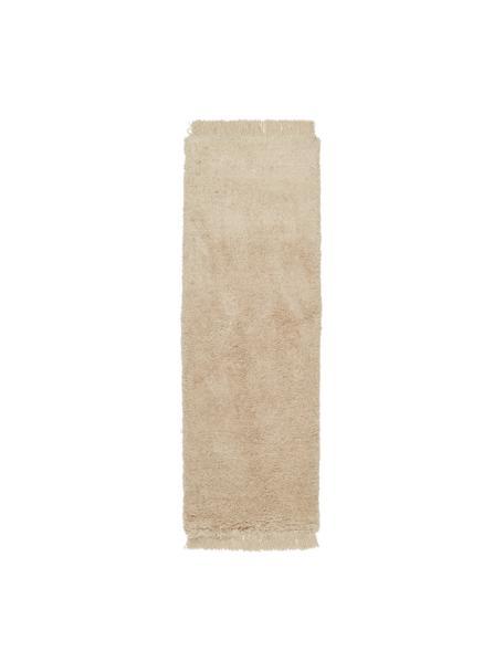Pluizige hoogpolige loper Dreamy met franjes, 100% polyester, gerecycled, Crèmekleurig, 80 x 250 cm