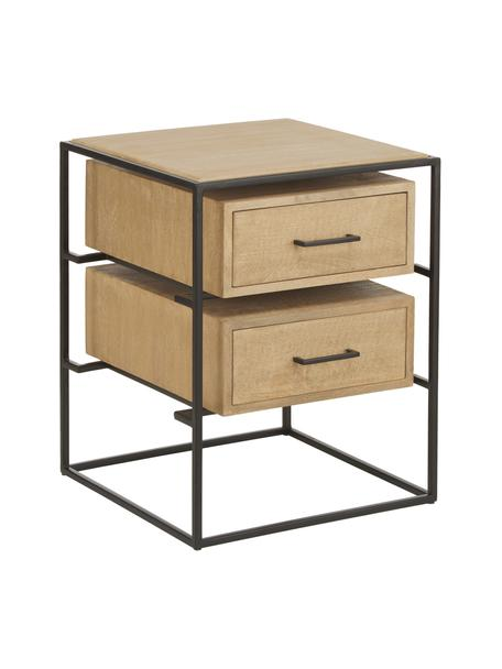 Nachttisch Lyle aus massivem Mangoholz, Korpus: Massives Mangoholz, lacki, Hellbraun, Schwarz, 45 x 58 cm
