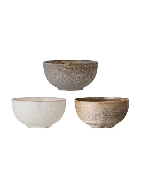 Komplet ręcznie wykonanych miseczek Addison, 3 elem., Kamionka, Szary, beżowy, biały, Ø 16 x W 8 cm