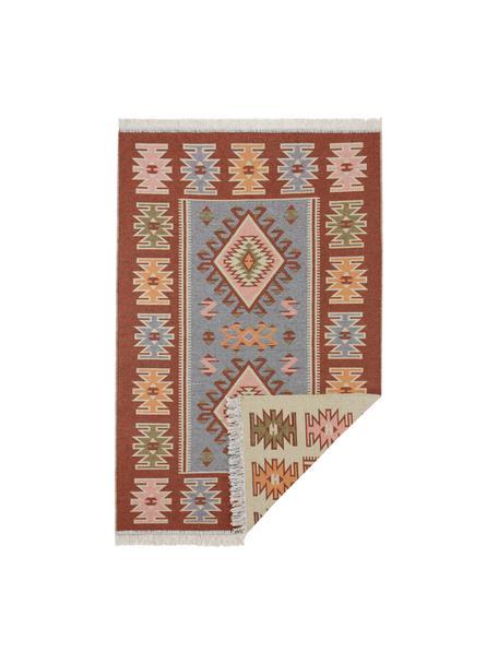 Kelim vloerkleed Yamuna in ethnostijl van katoen, 100% katoen, Rood, oranje, blauw, beige, roze, B 70 x L 140 cm (maat XS)