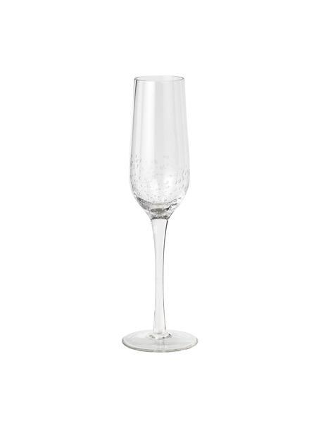 Kieliszek do szampana ze szkła dmuchanego Bubble, 4 szt., Szkło dmuchane, Transparentny z bąbelkami powietrza, Ø 7 x W 25 cm