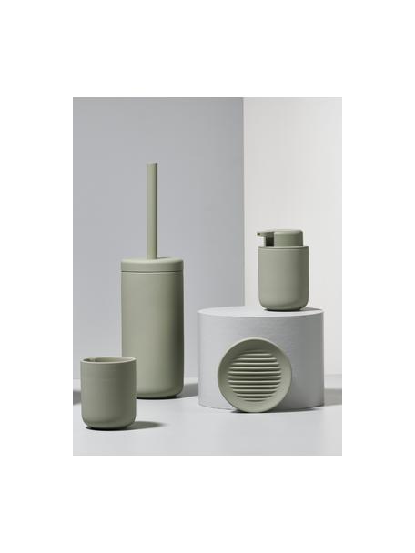 Dispenser sapone in gres Ume, Contenitore: gres rivestita con superf, Verde eucalipto, Ø 8 x Alt. 13 cm