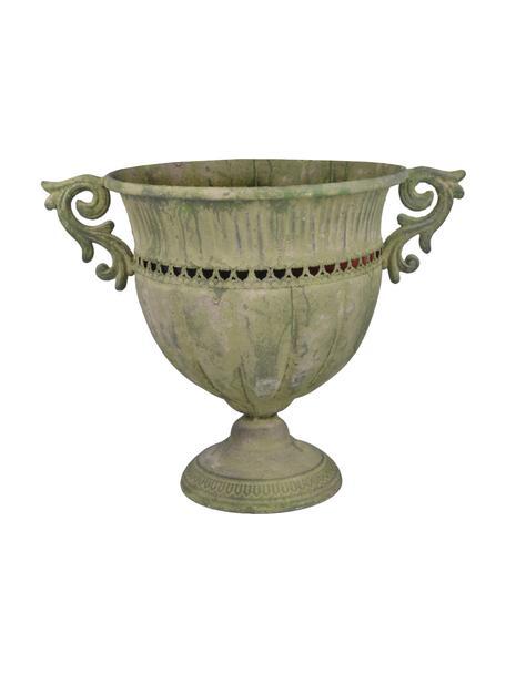 Großer Pflanztopf Valina, Metall, beschichtet, Grün, Beige, 39 x 31 cm