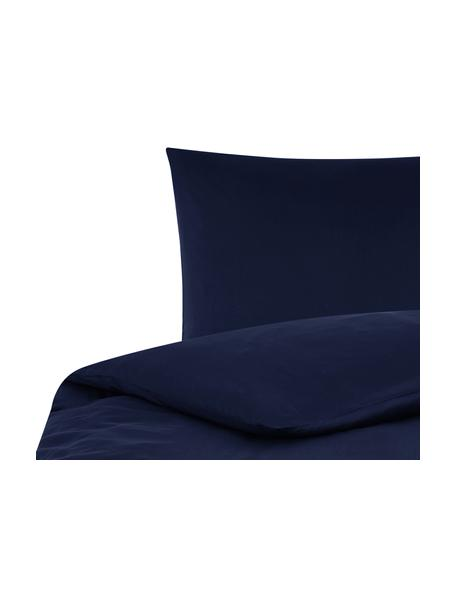Parure copripiumino in raso di cotone Comfort, Blu scuro, 155 x 200 cm