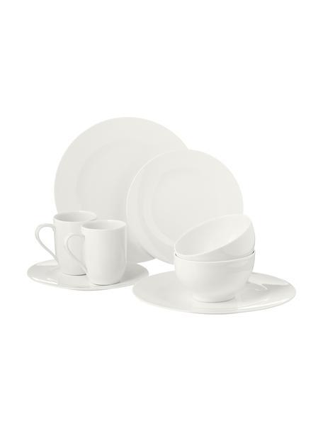 Vajilla de porcelana For Me, 4comensales(16pzas.), Porcelana, Blanco crudo azulado, Set de diferentes tamaños