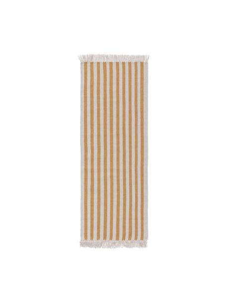 Gestreepte wollen loper Gitta met franjes, 90% wol, 10% katoen Bij wollen vloerkleden kunnen vezels loskomen in de eerste weken van gebruik, dit neemt af door dagelijks gebruik en pluizen wordt verminderd., Geel, lichtgrijs, 70 x 200 cm