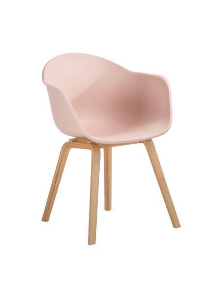Silla con reposabrazos Claire, Asiento: plástico, Patas: madera de haya, Plástico rosa, An 60 x F 54 cm