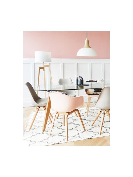 Kunststoffen armstoel Claire met houten poten, Zitvlak: kunststof, Poten: beukenhout, Zitvlak: roze. Poten: beukenhoutkleurig, 60 x 54 cm