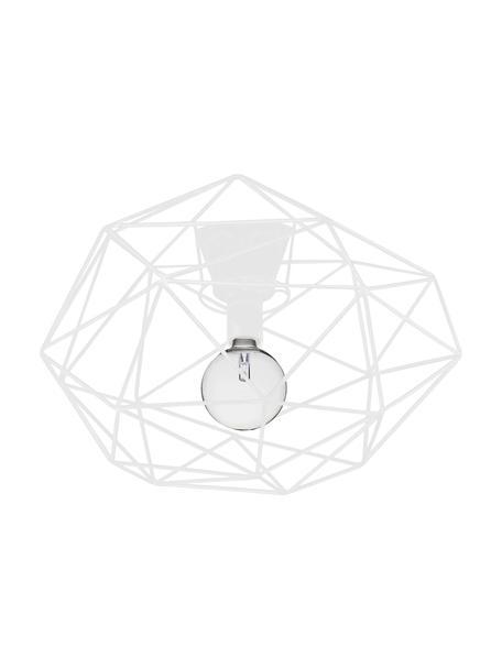 Plafoniera bianca Diamond, Baldacchino: ottone verniciato, Bianco, Ø 50 x Alt. 32 cm