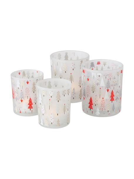 Waxinelichthoudersset Boma, 4-delig, Glas, Wit, rood, grijs, Set met verschillende formaten