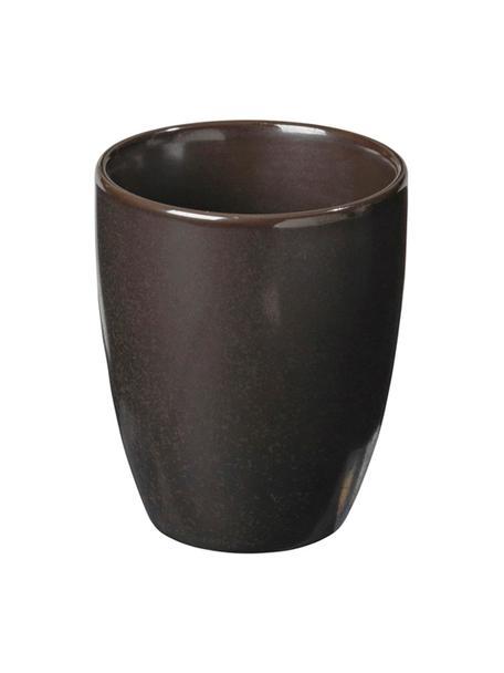Handgemaakte espressobekers Esrum Night, 4 stuks, Geglazuurd keramiek, Grijsbruin, mat glinsterend zilverachtig, Ø 7 x H 8 cm