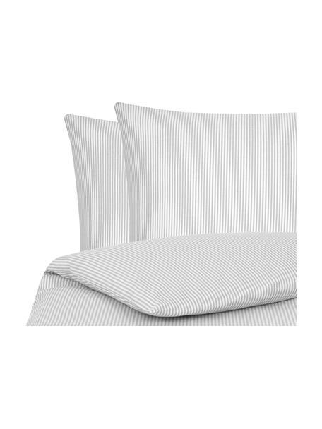 Parure copripiumino in cotone ranforce Ellie, Tessuto: Renforcé, Bianco, grigio, 255 x 200 cm