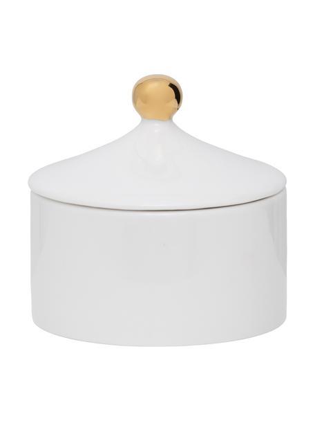 Zuckerdose Good Morning mit goldfarbenem Griff, Steingut, Weiß, Goldfarben, Ø 10 x H 9 cm