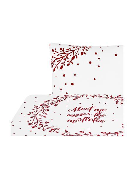 Pościel z flaneli Mistletoe, Biały, czerwony, 135 x 200 cm + 1 poduszka 80 x 80 cm