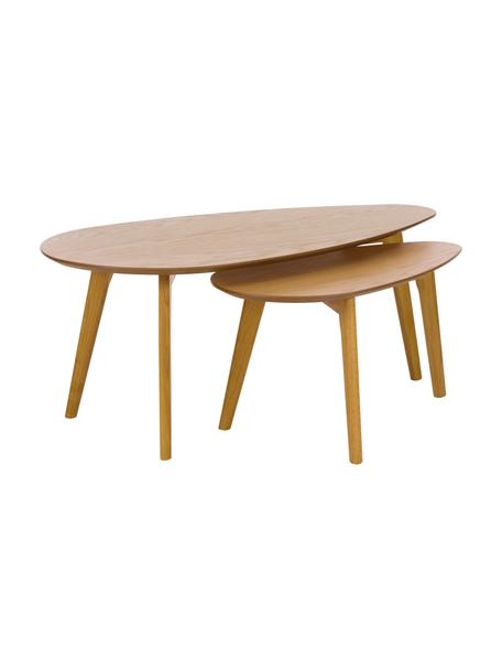 Set de mesas de centro en roble Bloom, 2uds., Tablero: fibras de densidad media , Patas: madera de roble, Roble, Set de diferentes tamaños