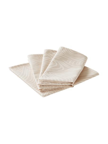 Baumwoll-Stoff-Servietten Vida in Beige mit feinen Linien, 4 Stück, 100% Baumwolle, Beige, 45 x 45 cm