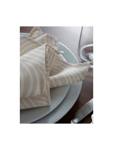Katoenen servetten Vida in beige met fijne lijnen, 4 stuks, 100% katoen, Beige, 45 x 45 cm