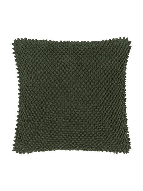 Kussenhoes Indi met gestructureerde oppervlak in donkergroen, 100% katoen, Donkergroen, 45 x 45 cm
