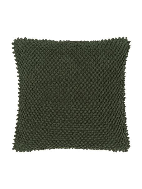 Funda de cojín texturizada Indi, 100%algodón, Verde oscuro, An 45 x L 45 cm